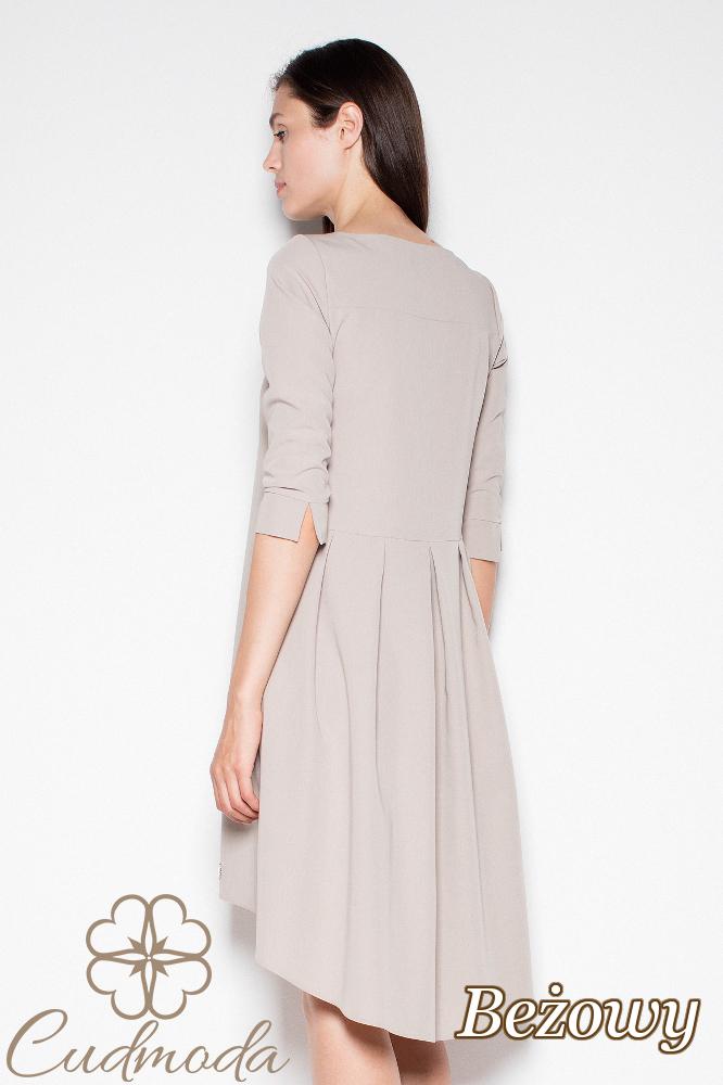 CM2978 Sukienka z asymetrycznym dołem - beżowa
