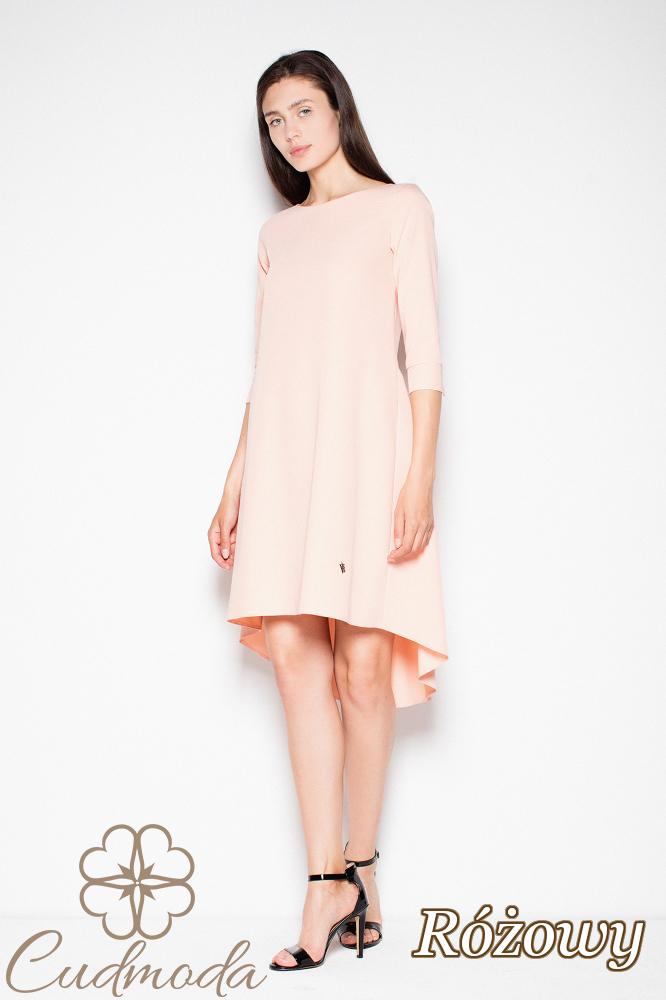 CM2978 Sukienka z asymetrycznym dołem - różowa