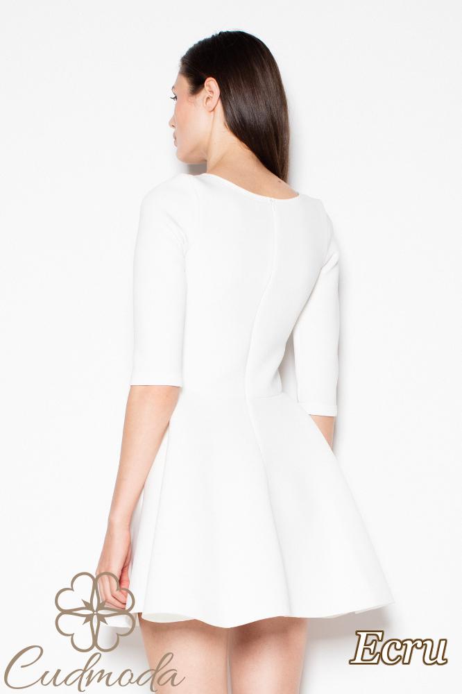 CM2980 Piankowa sukienka rozkloszowana - ecru