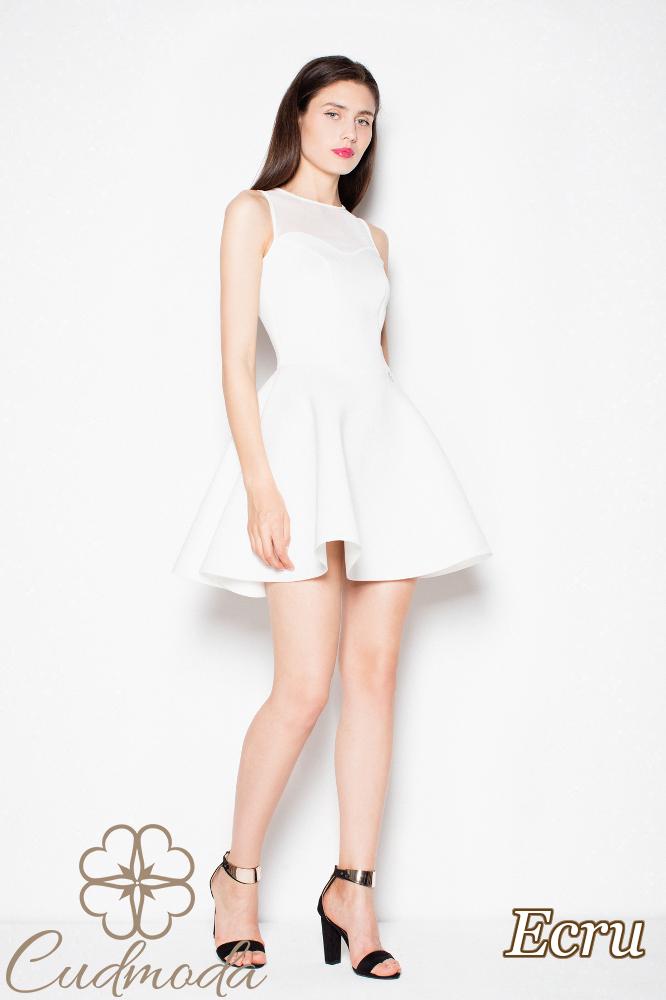 CM2981 Sukienka bez rękawów z prześwitującą górą - ecru