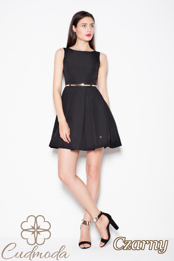CM2983 Sukienka bez rękawów z zakładkami - czarna