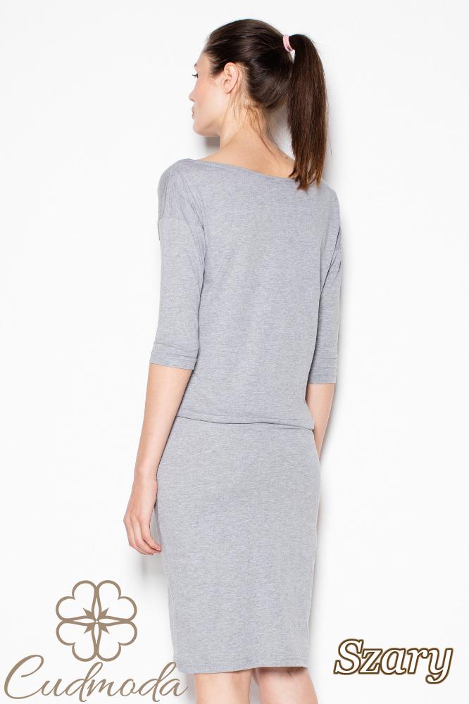 CM2985 Bawełniana sukienka przewiązana w pasie - szara