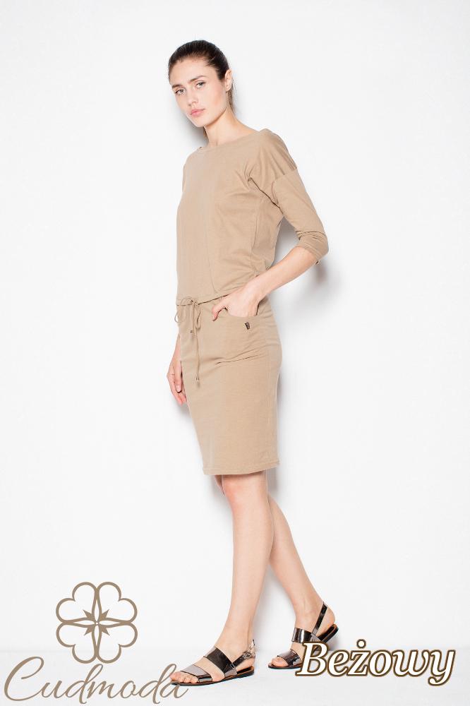 CM2985 Bawełniana sukienka przewiązana w pasie - beżowa