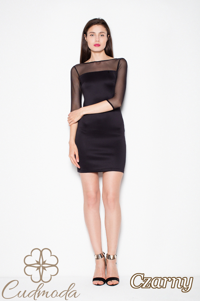 CM2986 Dopasowana sukienka mini z szyfonową górą - czarna