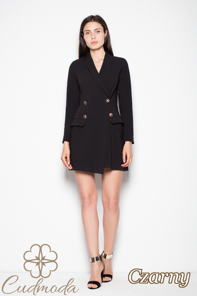 CM2987 Elegancka sukienka żakietowa - czarna