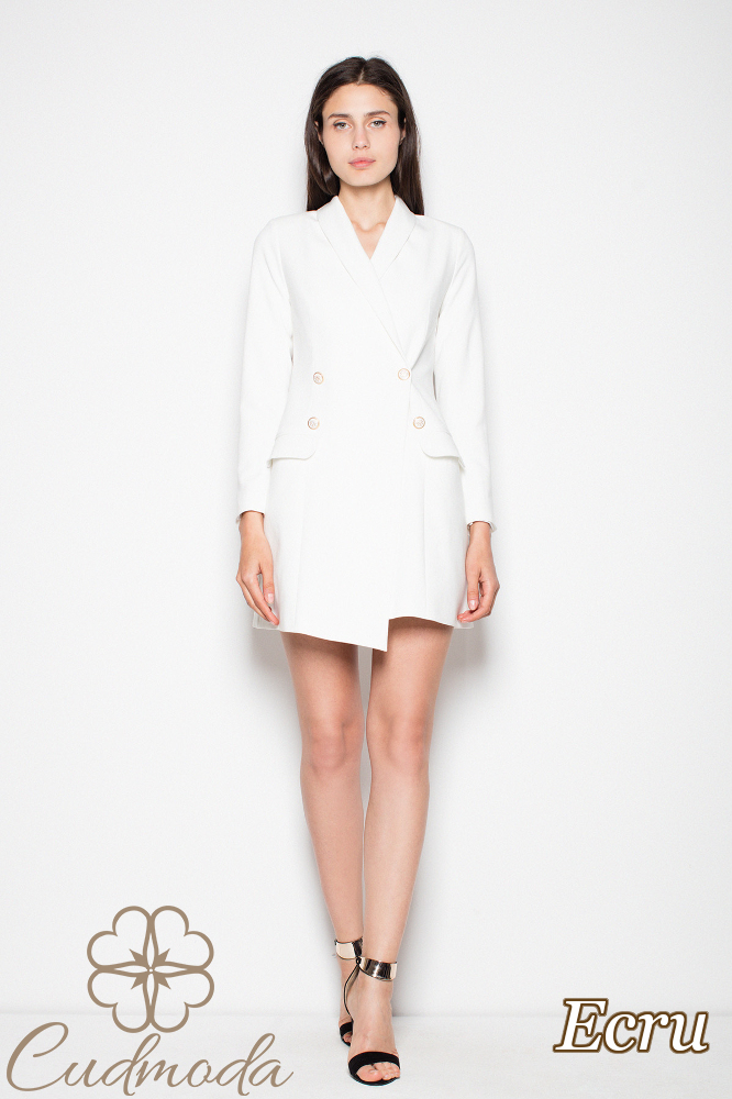 CM2987 Elegancka sukienka żakietowa - ecru