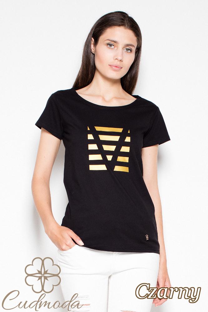 CM2988 Bawełniany t-shirt z oryginalnym nadrukiem - czarny