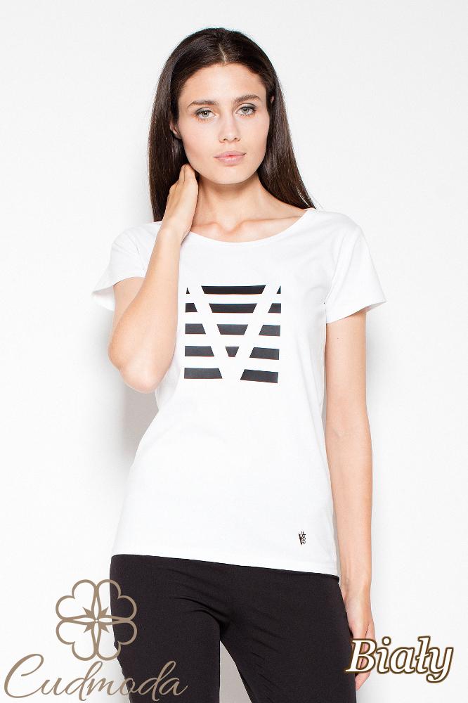 CM2988 Bawełniany t-shirt z oryginalnym nadrukiem - biała