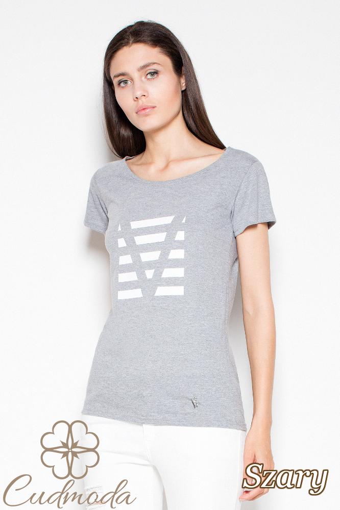CM2988 Bawełniany t-shirt z oryginalnym nadrukiem - szara