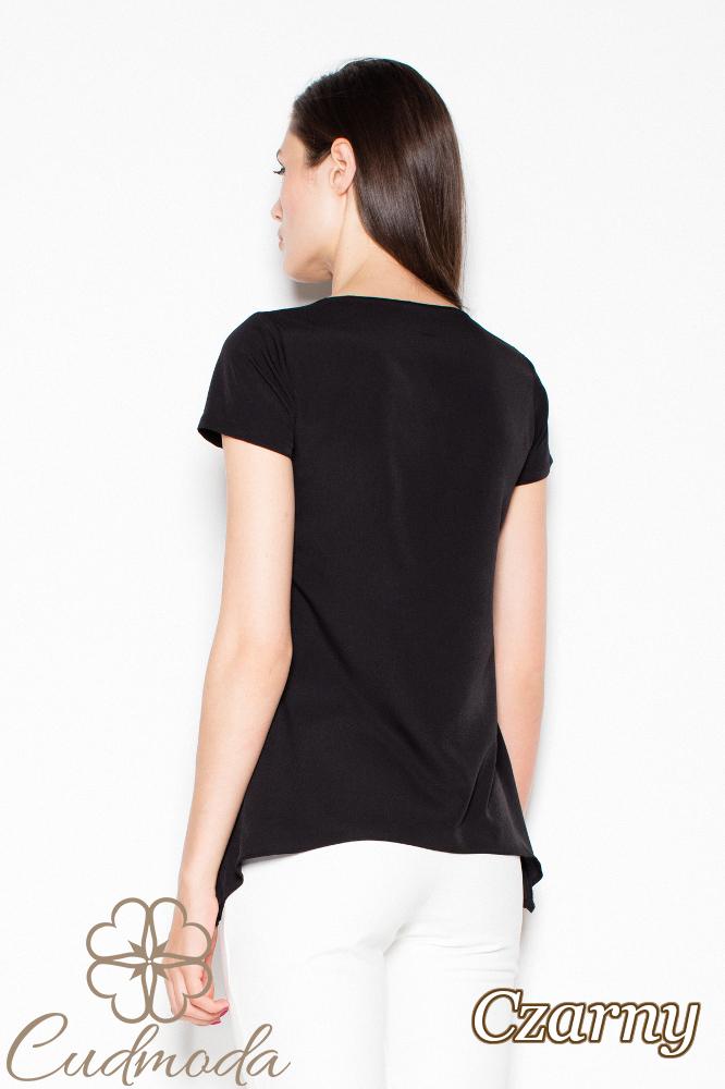 CM2989 Modna bluzka damska z krótkim rękawem - czarna