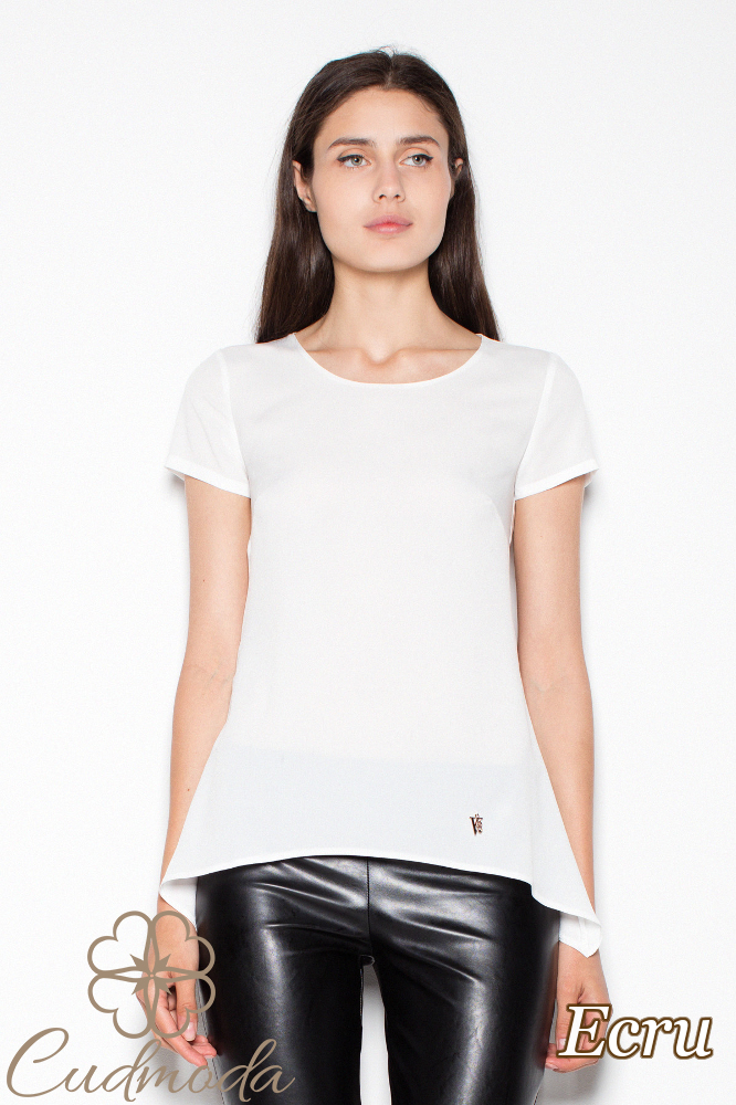 CM2989 Modna bluzka damska z krótkim rękawem - ecru