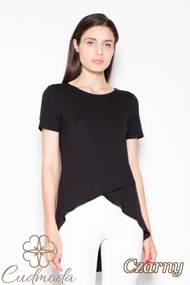 CM2990 Wyjątkowa asymetryczna bluzka damska - czarna