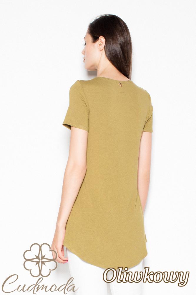 CM2990 Wyjątkowa asymetryczna bluzka damska - oliwkowa