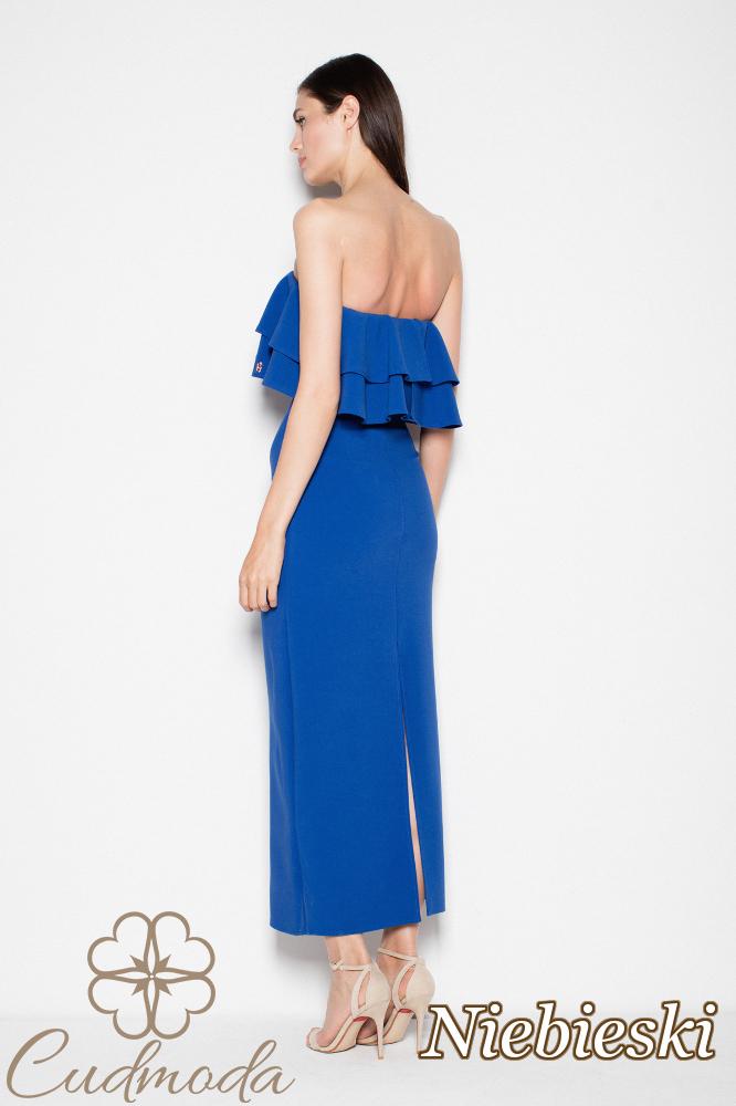 CM2993 Elegancka sukienka maxi z falbankami - niebieska