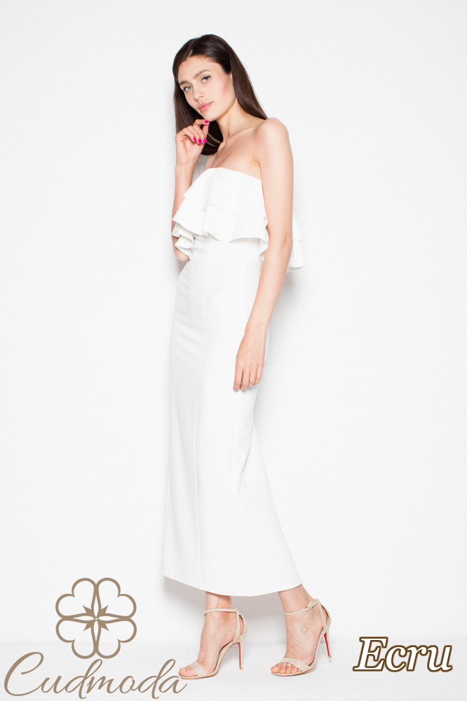 CM2993 Elegancka sukienka maxi z falbankami - ecru