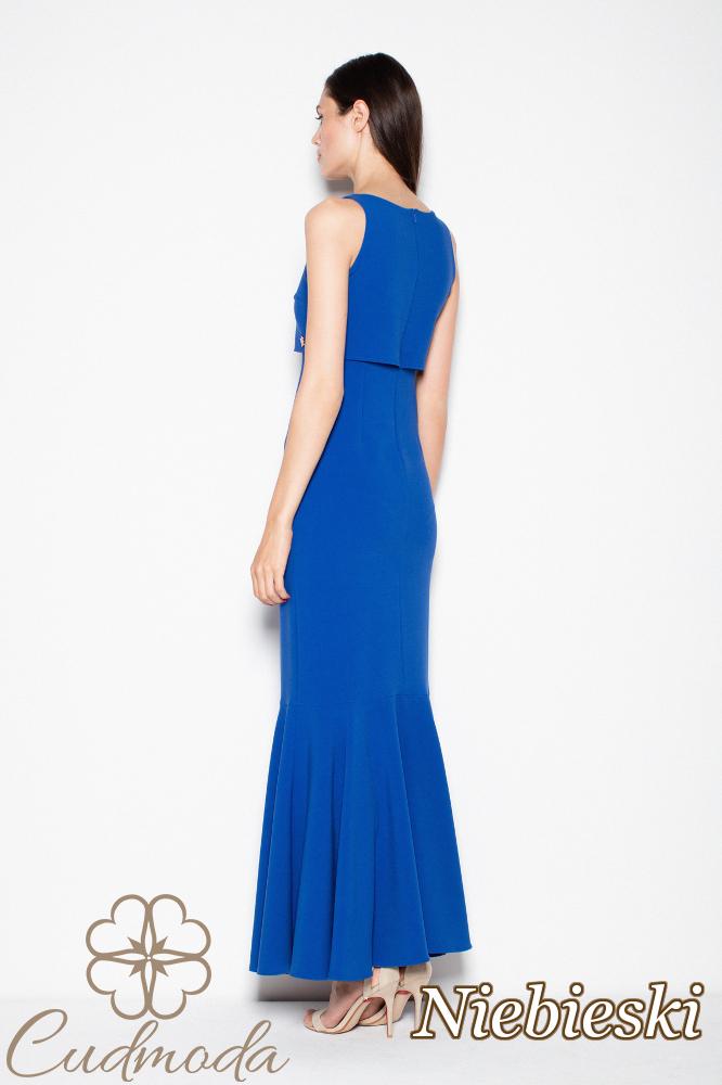 CM2994 Prosta sukienka maxi z poszerzanym dołem - niebieska