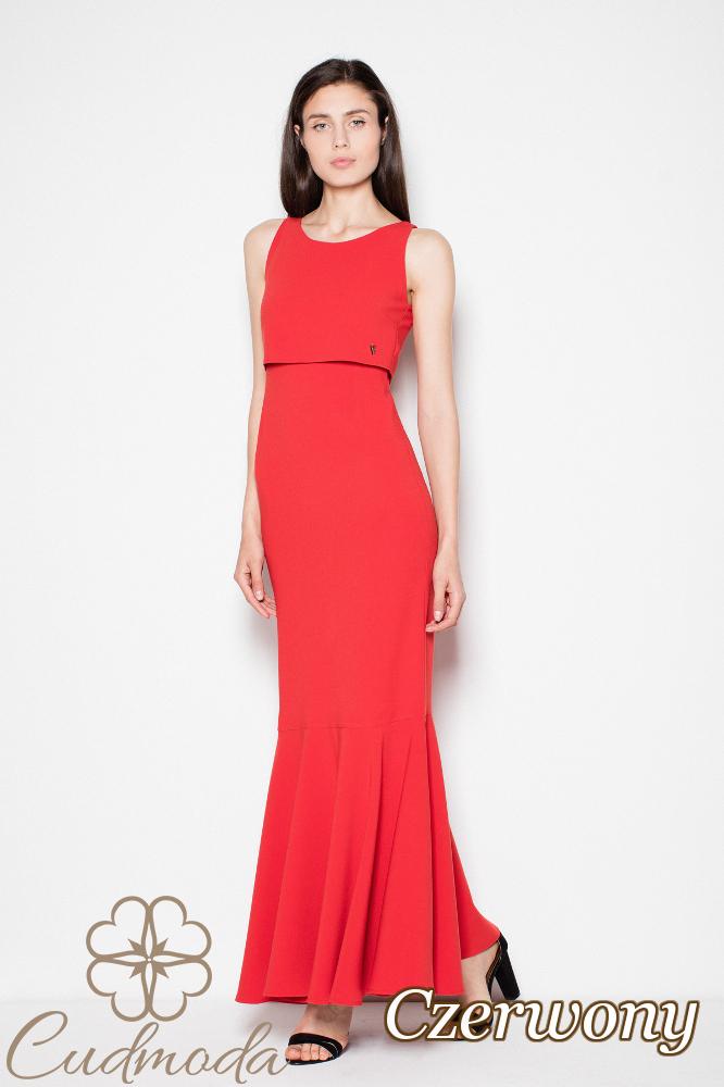 CM2994 Prosta sukienka maxi z poszerzanym dołem - czerwona