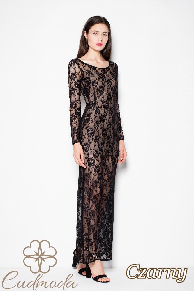 CM2995 Dwuwarstwowa koronkowa sukienka maxi - czarna