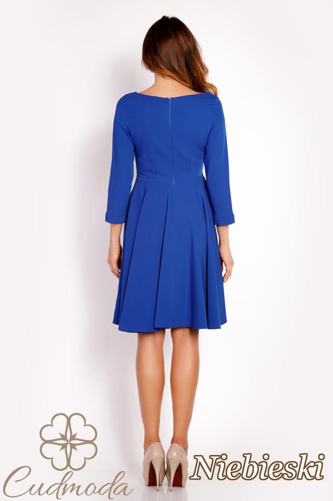 CM3015 Rozkloszowana sukienka z guzikami - niebieska