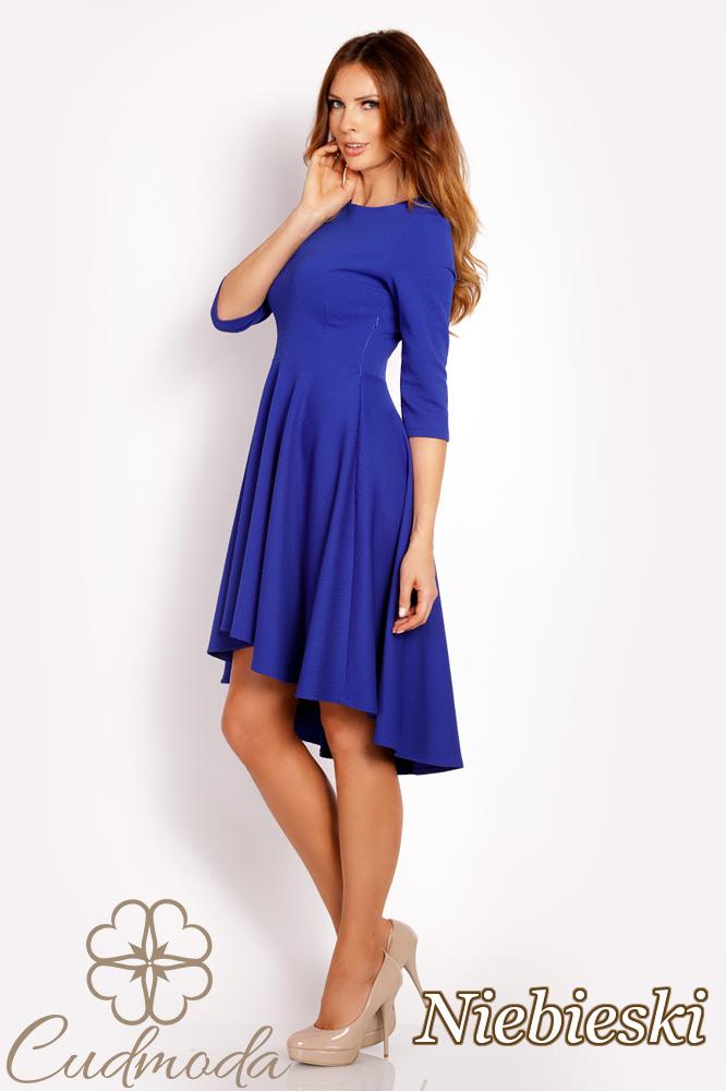 CM3016 Asymetryczna sukienka wieczorowa - niebieska