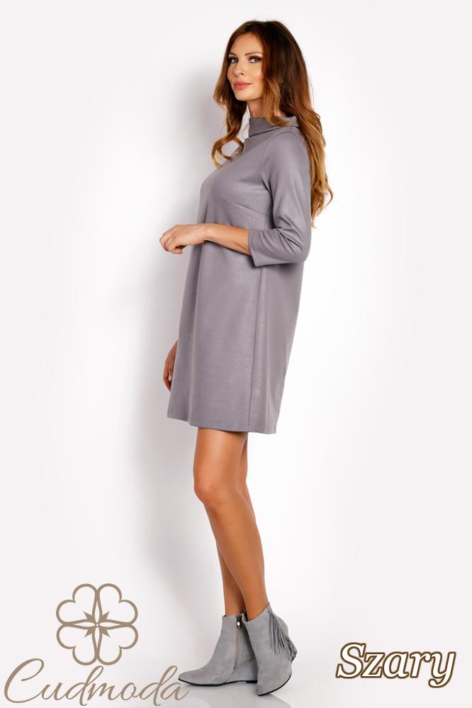 CM3018 Klasyczna sukienka trapezowa - szara