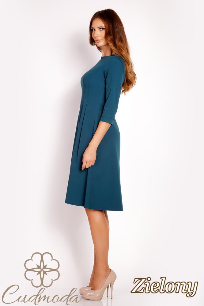 CM3020 Delikatnie rozkloszowana sukienka midi - zielona