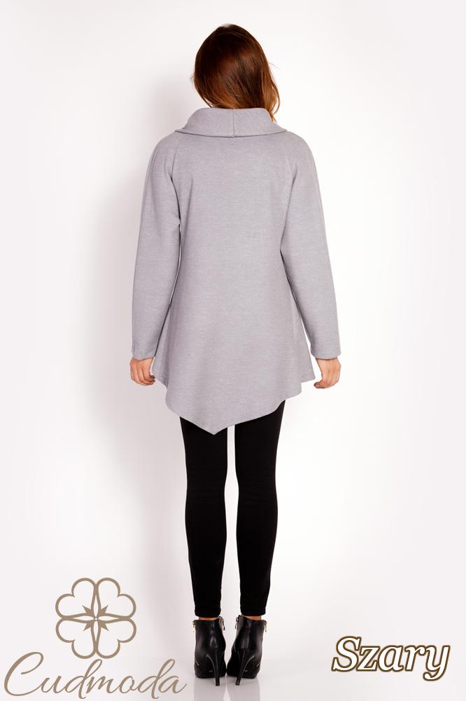 CM3021 Stylowy kopertowy płaszcz - szary