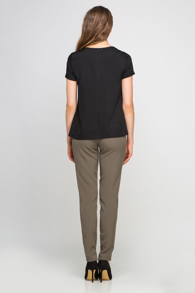 CM3024 Klasyczna bluzka z krótkim rękawem - czarna