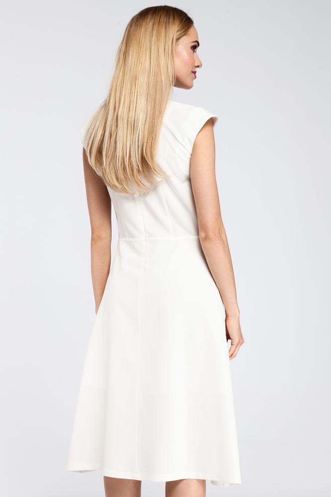 CM2920 Dopasowana sukienka kontrafałda - ecru