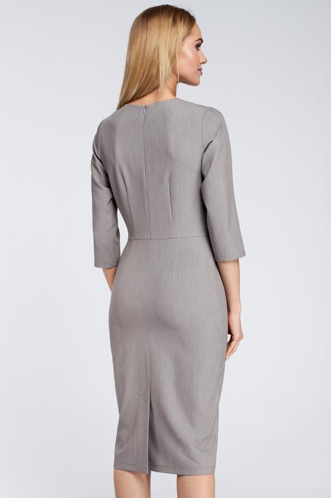 CM2921 Sukienka midi z falbanką na biuście - szara