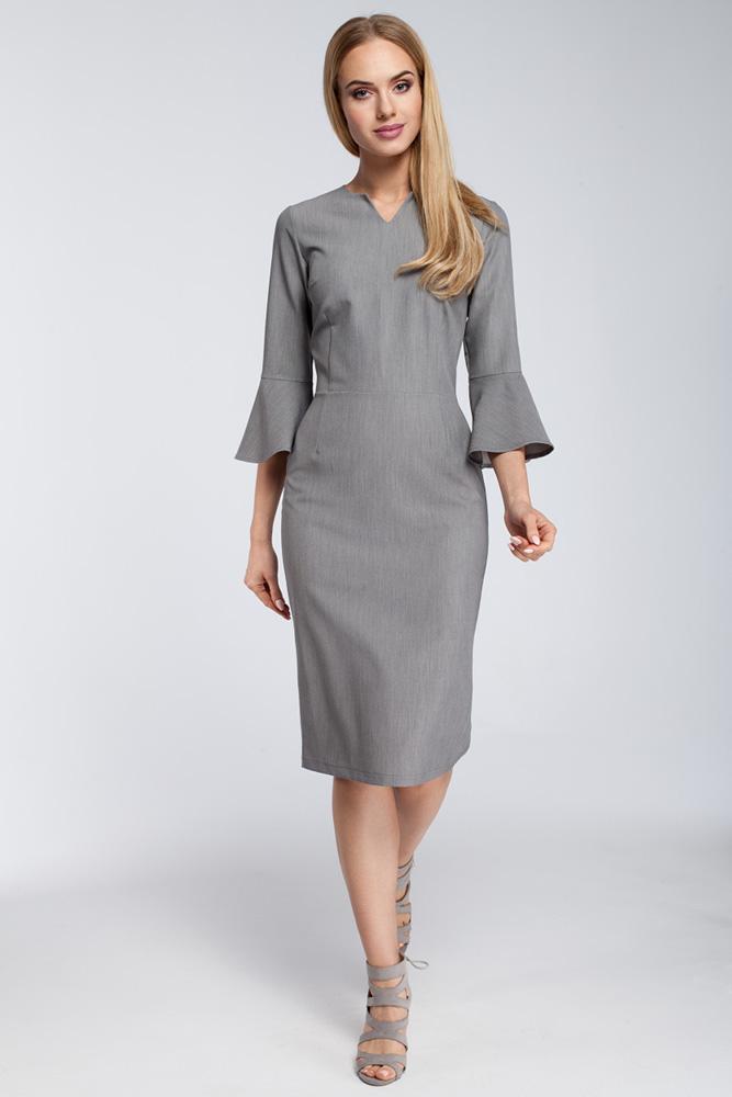 CM2923 Dopasowana sukienka z falbanami przy rękawach - szara