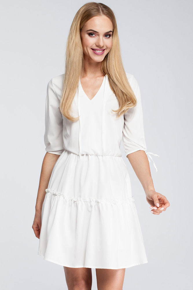 CM2925 Gładka sukienka w stylu boho - ecru