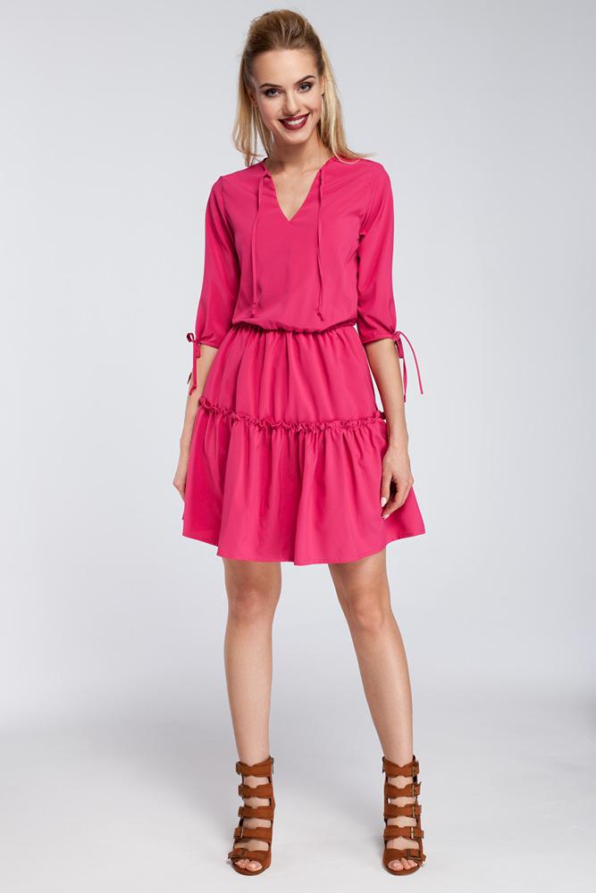 CM2925 Gładka sukienka w stylu boho - różowa