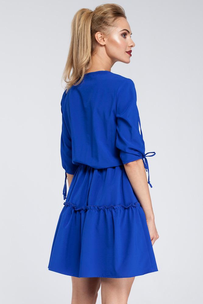CM2925 Gładka sukienka w stylu boho - chabrowa