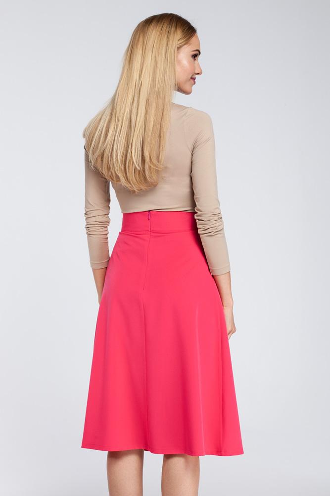 CM2926 Spódnica midi z zakładkami i kieszeniami - różowa