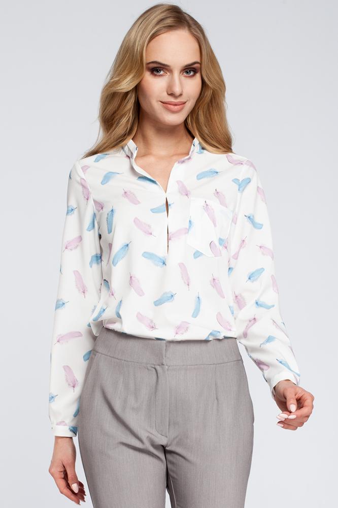 CM2930 Stylowa bluzka koszulowa w piórka - model 1