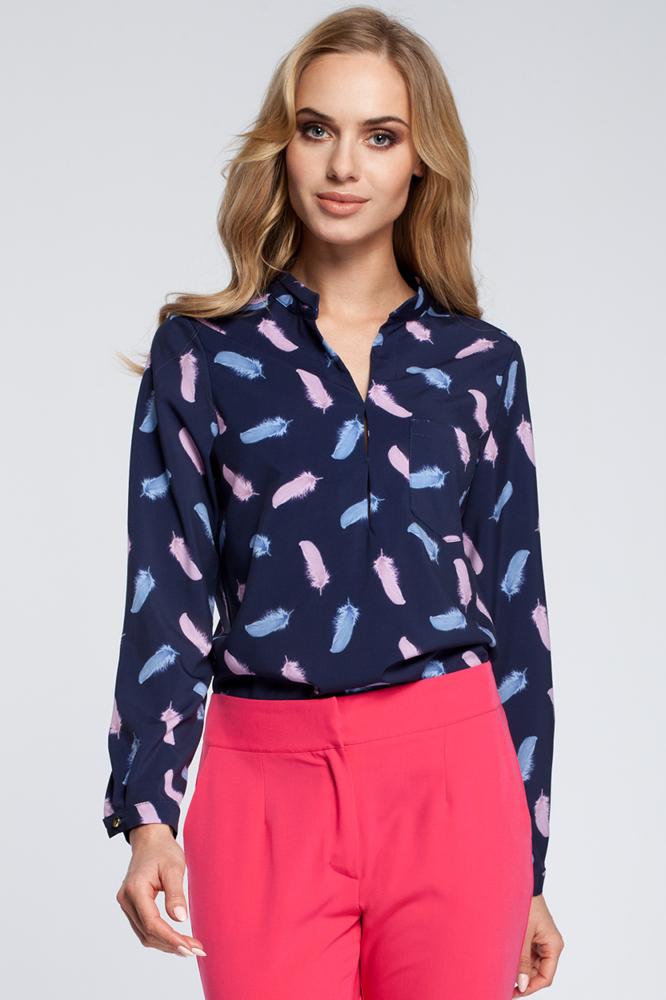 CM2930 Stylowa bluzka koszulowa w piórka - model 3