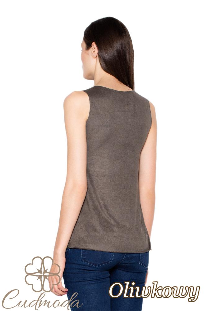 CM2899 Kobieca bluzka bez rękawów - oliwkowa