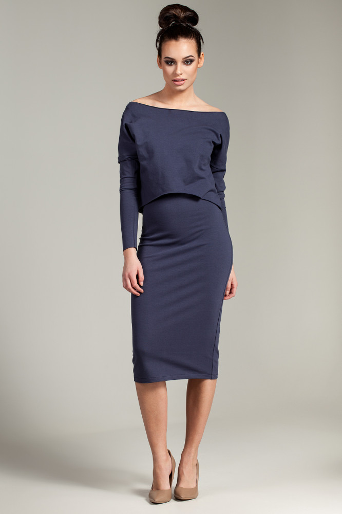 CM2780 Elastyczna ołówkowa sukienka midi - niebieska