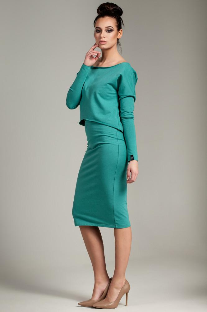 CM2780 Elastyczna ołówkowa sukienka midi - zielona