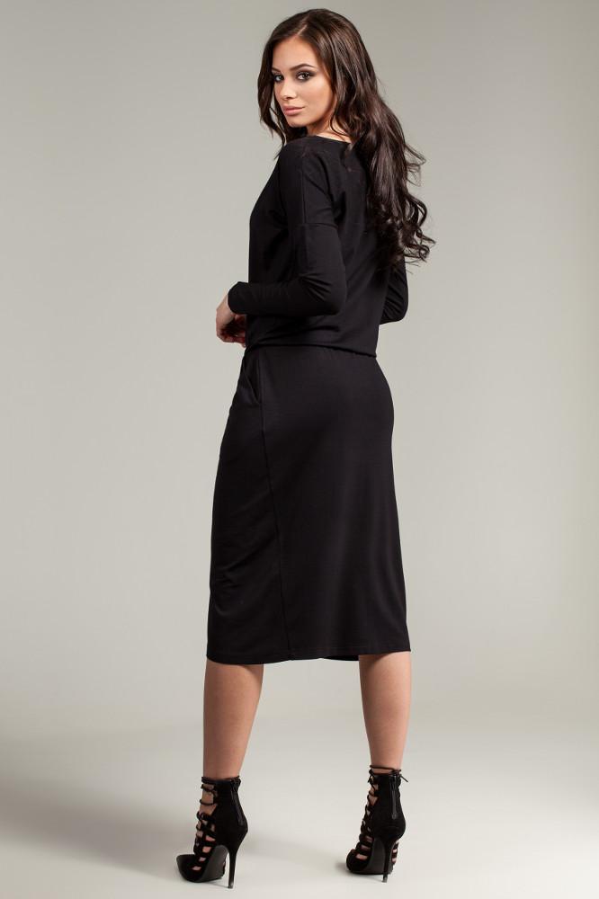 CM2782 Sukienka z oryginalną zakładką na przodzie - czarna