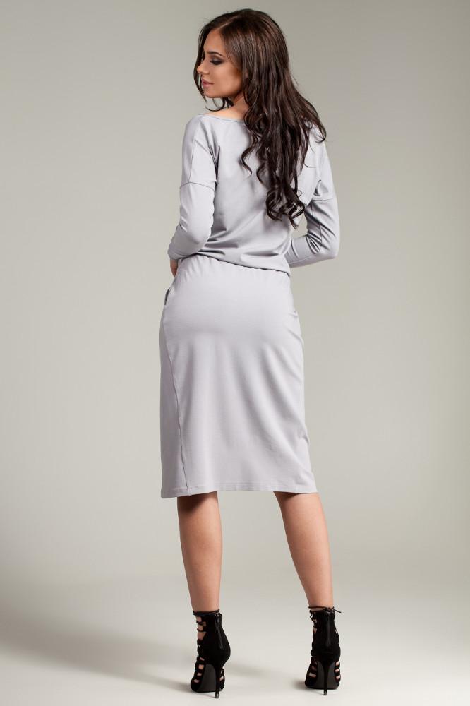 CM2782 Sukienka z oryginalną zakładką na przodzie - szara
