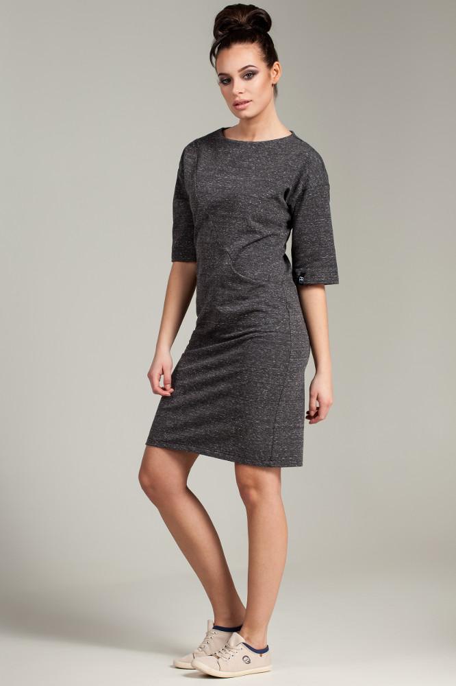 CM2783 Dresowa sukienka biurowa - grafitowy melanż