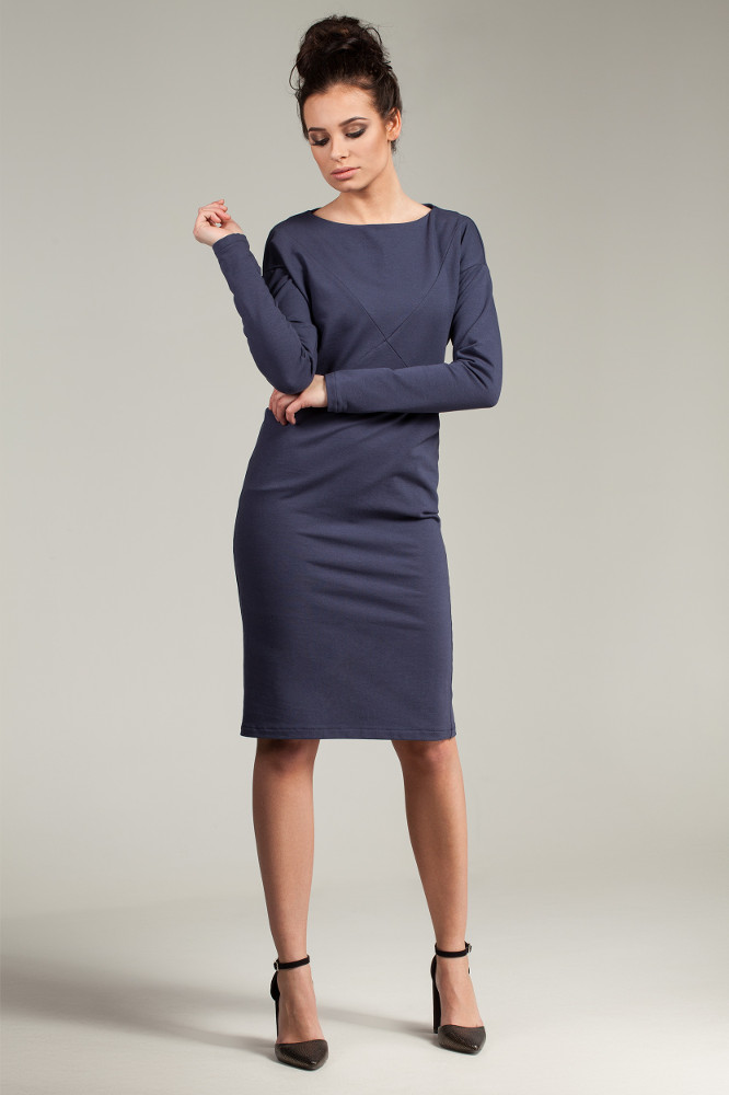 CM2785 Sportowa sukienka z długim rękawem - niebieska