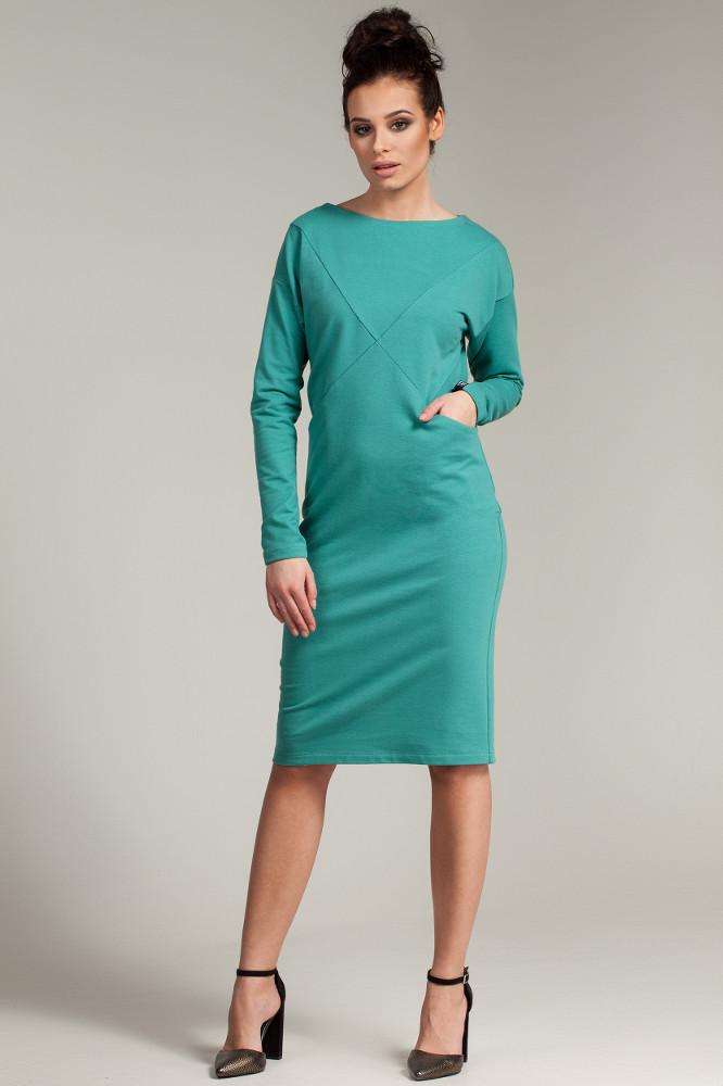 CM2785 Sportowa sukienka z długim rękawem - zielona