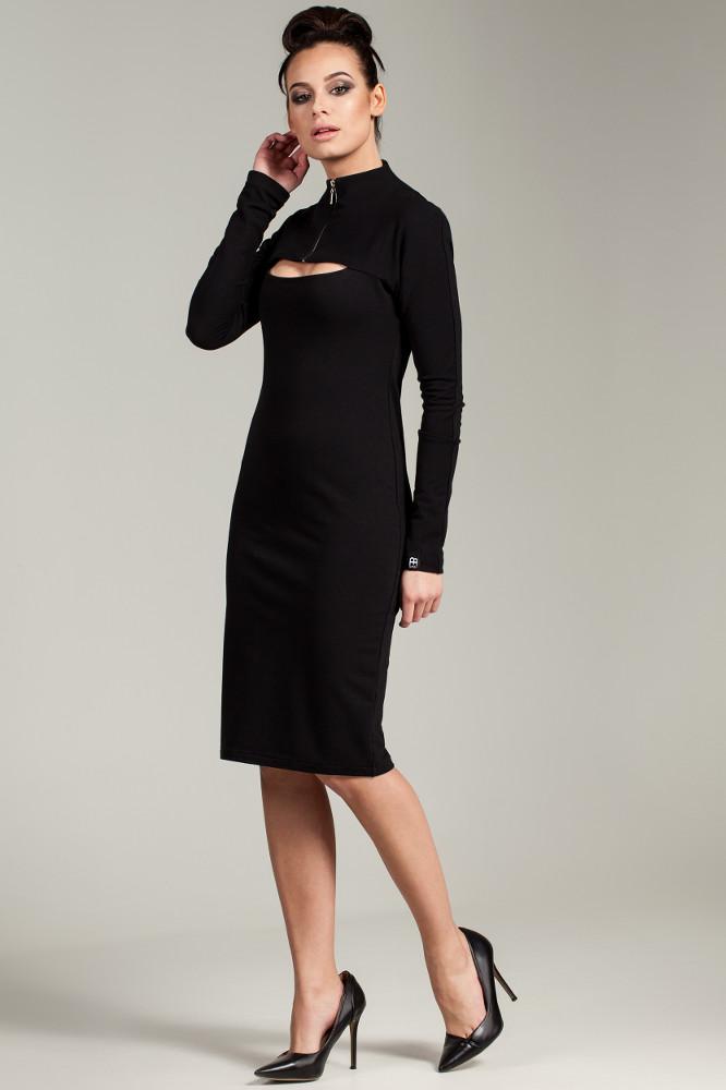 CM2787 Ołówkowa sukienka z zasuwanym golfem - czarna