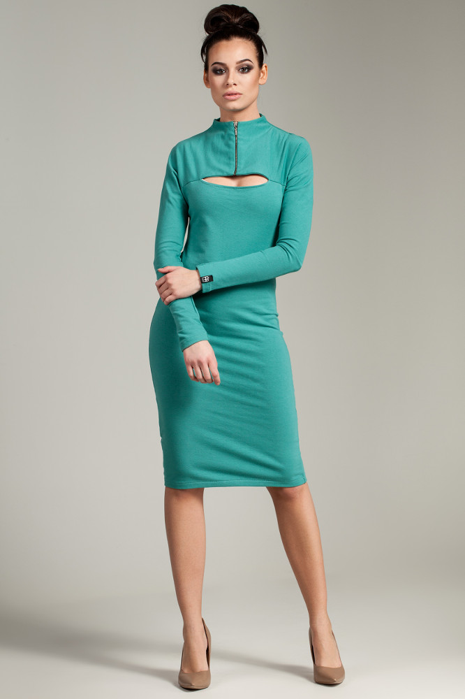 CM2787 Ołówkowa sukienka z zasuwanym golfem - zielona