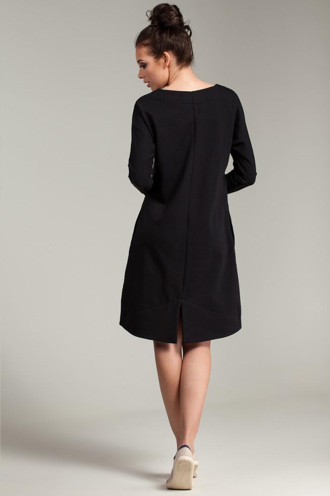CM2791 Trapezowa sukienka z długim rękawem - czarna