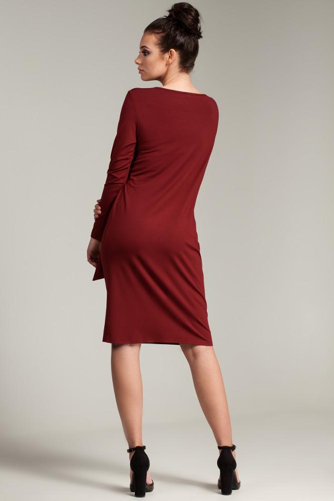 CM2792 Nowoczesna sukienka z szarfą - bordowa