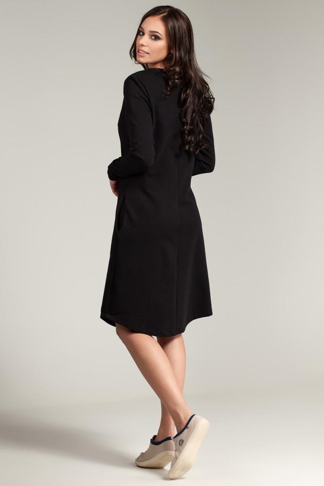CM2869 Klasyczna sukienka z rozcięciem na dekolcie - czarna